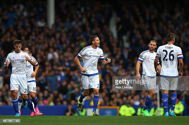 Nemanja Matic of Chelsea celebrates scoring his team's opening goal during the Barclays Premier League match between Everton and Chelsea at Goodison...