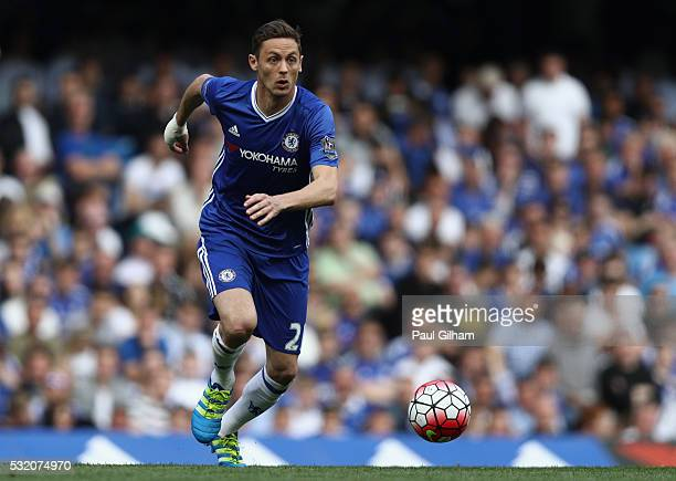 Nemanja Matic of Chelsea in action during the Barclays Premier League match between Chelsea and Leicester City at Stamford Bridge on May 15 2016 in...