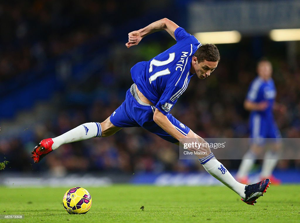 Nemanja Matic of Chelsea in the ball during the Barclays Premier League match between Chelsea and Manchester City at Stamford Bridge on January 31, 2015 in London, England.