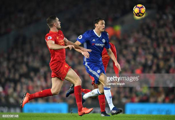 Nemanja Matic of Chelsea is closed down by Jordan Henderson of Liverpool during the Premier League match between Liverpool and Chelsea at Anfield on...