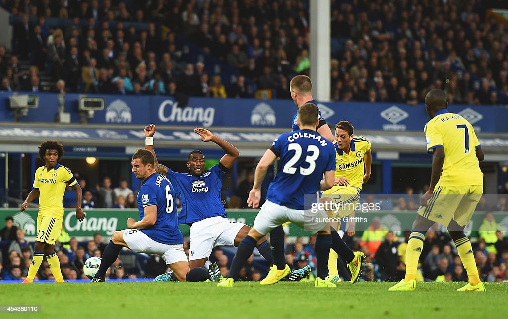 Nemanja Matic of Chelsea scores his team's fourth goal during the Barclays Premier League match between Everton and Chelsea at Goodison Park on August 30, 2014 in Liverpool, England.