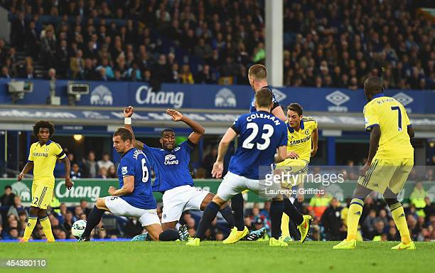 Nemanja Matic of Chelsea scores his team's fourth goal during the Barclays Premier League match between Everton and Chelsea at Goodison Park on...