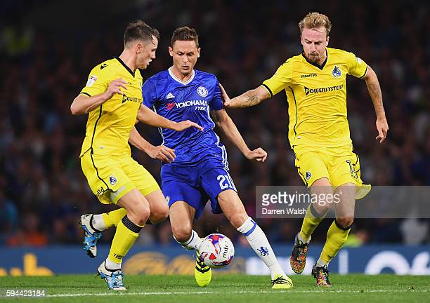 Nemanja Matic of Chelsea takes on the Bristol Rovers defence during the EFL Cup second round match between Chelsea and Bristol Rovers at Stamford...