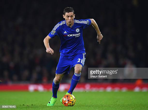 Nemanja Matic of Cheslea runs with the ball during the Barclays Premier League match between Arsenal and Chelsea at Emirates Stadium on January 24...
