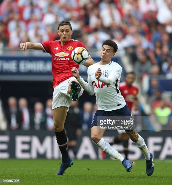 Nemanja Matic of Man Utd and Dele Alli of Tottenham during the FA Cup semi final between Manchester United and Tottenham Hotspur at Wembley Stadium...