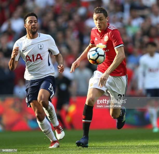 Nemanja Matic of Man Utd and Mousa Dembele of Tottenham during the FA Cup semi final between Manchester United and Tottenham Hotspur at Wembley...