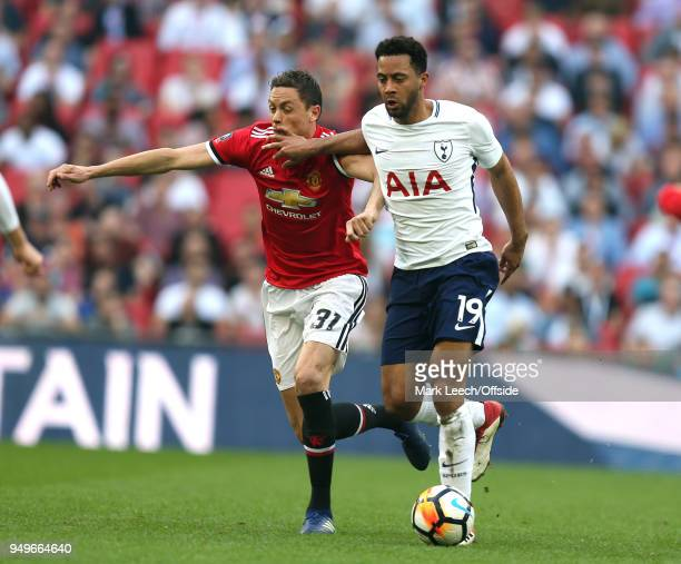 Nemanja Matic of Man Utd gets the hand of Mousa Dembele of Tottenham in his face during the FA Cup semi final between Manchester United and Tottenham...