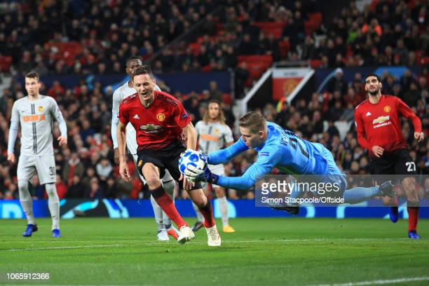 Nemanja Matic of Man Utd looks dejected as Young Boys goalkeeper David von Ballmoos saves during the Group H match of the UEFA Champions League...