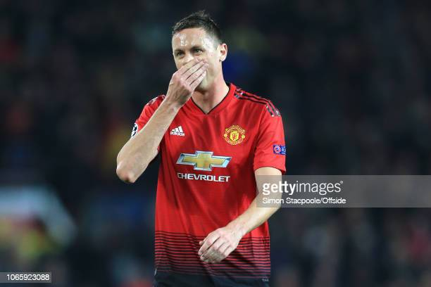 Nemanja Matic of Man Utd looks dejected during the Group H match of the UEFA Champions League between Manchester United and BSC Young Boys at Old...