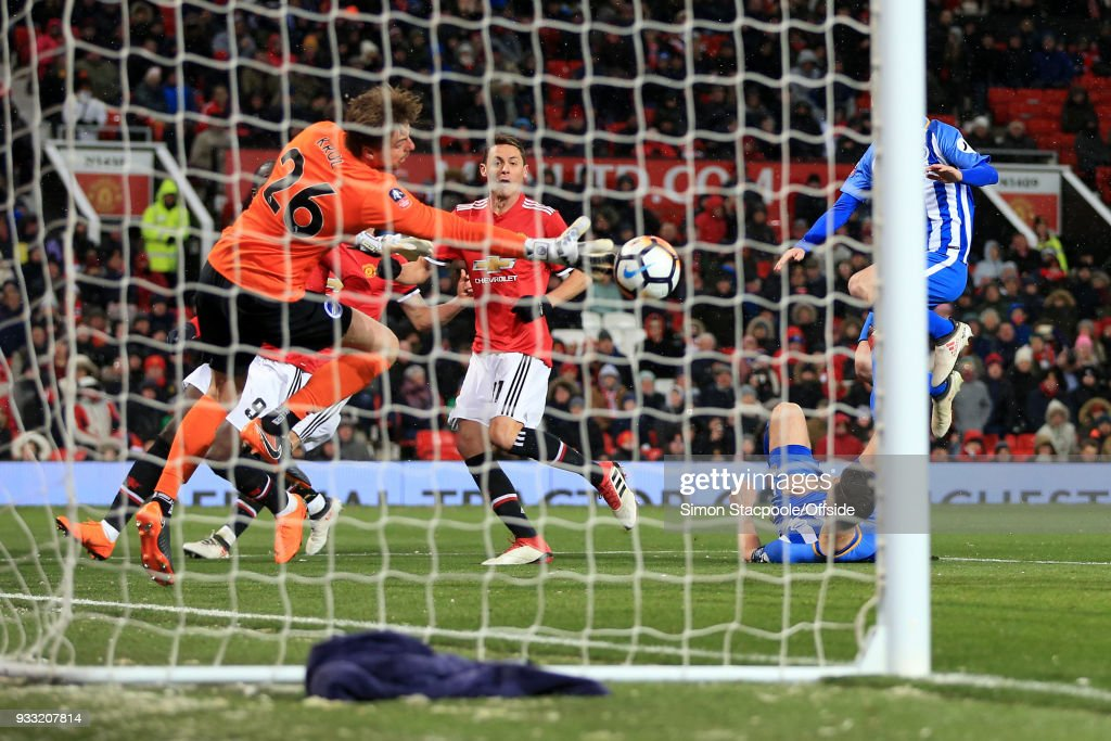 Nemanja Matic of Man Utd scores their 2nd goal during The Emirates FA Cup Quarter Final match between Manchester United and Brighton and Hove Albion at Old Trafford on March 17, 2018 in Manchester, England.