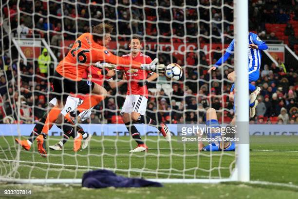 Nemanja Matic of Man Utd scores their 2nd goal during The Emirates FA Cup Quarter Final match between Manchester United and Brighton and Hove Albion...