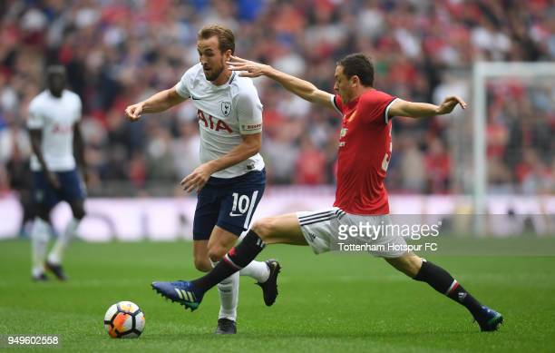 Nemanja Matic of Mancherster United tackles Harry Kane of Tottenham Hotspur during The Emirates FA Cup Semi Final match between Manchester United and...