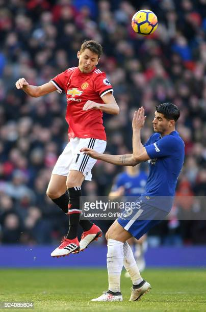 Nemanja Matic of Manchester United and Alvaro Morata of Chelsea compete for the ball during the Premier League match between Manchester United and...