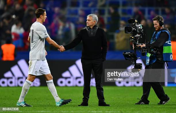 Nemanja Matic of Manchester United and Jose Mourinho Manager of Manchester United shake hands during the UEFA Champions League group A match between...