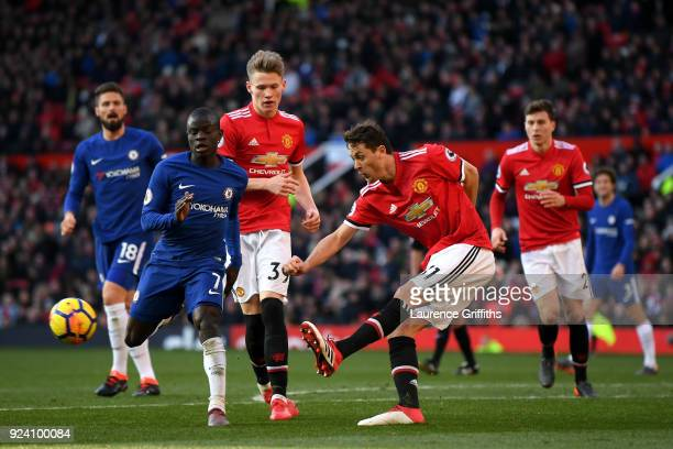 Nemanja Matic of Manchester United and N'Golo Kante of Chelsea in action during the Premier League match between Manchester United and Chelsea at Old...