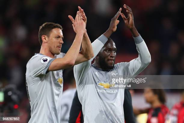 Nemanja Matic of Manchester United and Romelu Lukaku of Manchester United shows appreciation to the fans after the Premier League match between AFC...