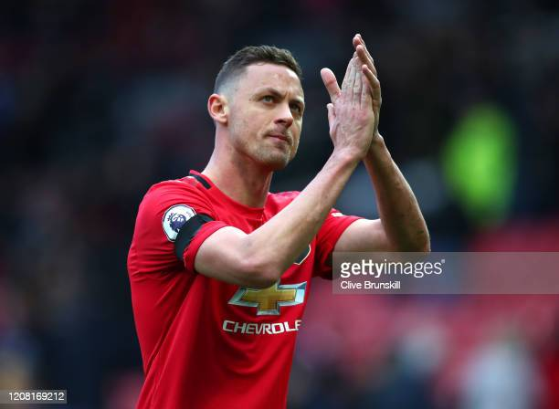 Nemanja Matic of Manchester United applauds fans after the Premier League match between Manchester United and Watford FC at Old Trafford on February...