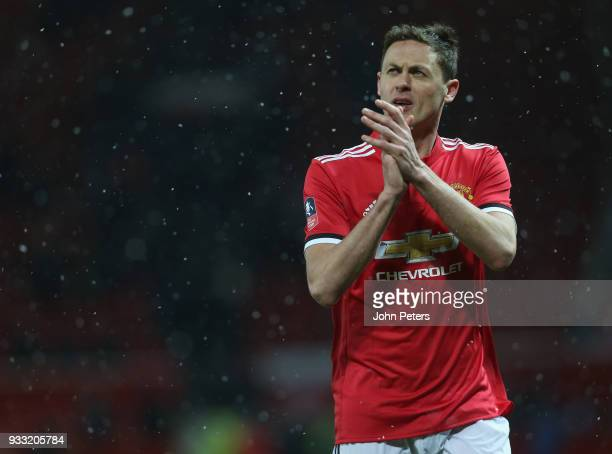 Nemanja Matic of Manchester United applauds the fans after the Emirates FA Cup Quarter Final match between Manchester United and Brighton Hove Albion...