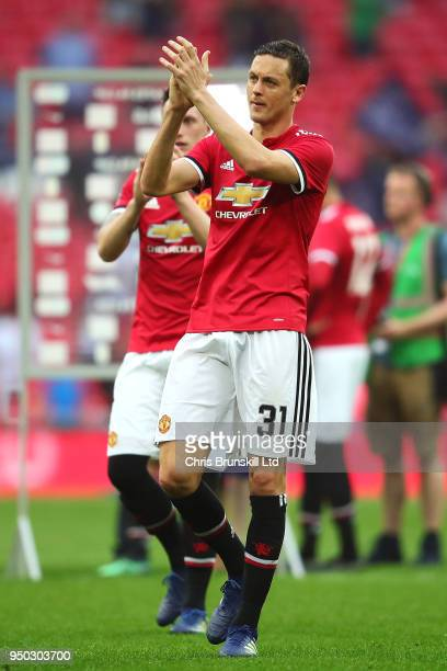 Nemanja Matic of Manchester United applauds the supporters after The Emirates FA Cup Semi Final match between Manchester United and Tottenham Hotspur...