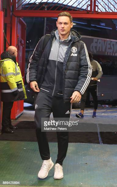 Nemanja Matic of Manchester United arrives ahead of the Premier League match between Manchester United and Manchester City at Old Trafford on...