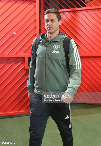 Nemanja Matic of Manchester United arrives ahead of the Premier League match between Manchester United and Stoke City at Old Trafford on January 15...