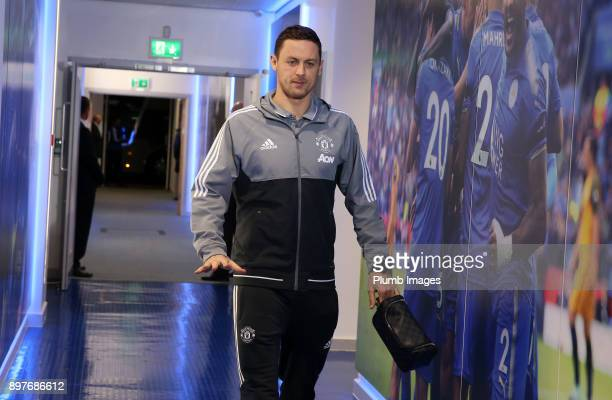 Nemanja Matic of Manchester United arrives at King Power Stadium ahead of the Premier League match between Leicester City and Manchester United at...