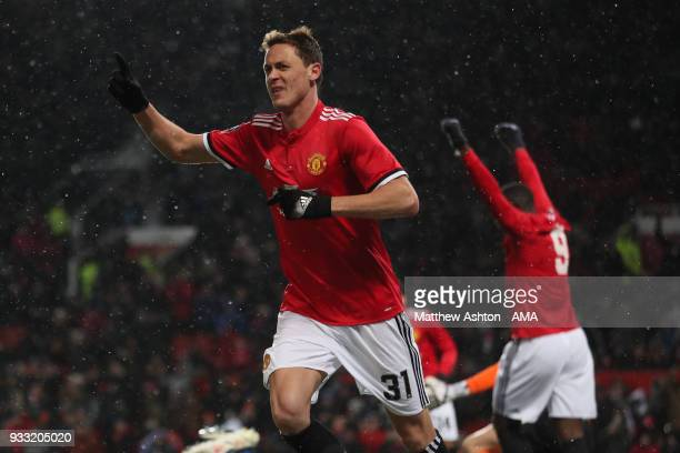 Nemanja Matic of Manchester United celebrates after scoring a goal to make it 20 during the FA Cup Quarter Final match between Manchester United and...