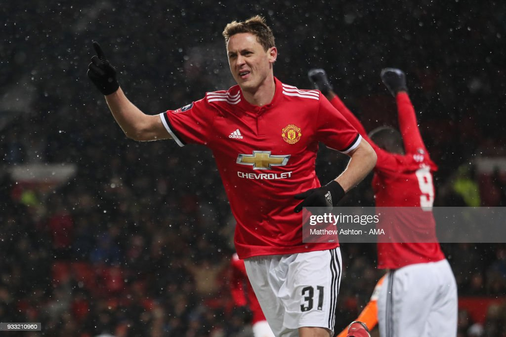 Nemanja Matic of Manchester United celebrates after scoring a goal to make it 2-0 during the FA Cup Quarter Final match between Manchester United and Brighton & Hove Albion at Old Trafford on March 17, 2018 in Manchester, England.