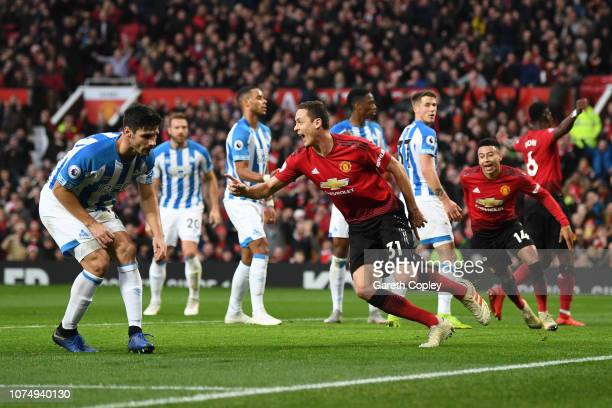 Nemanja Matic of Manchester United celebrates after scoring his team's first goal during the Premier League match between Manchester United and...