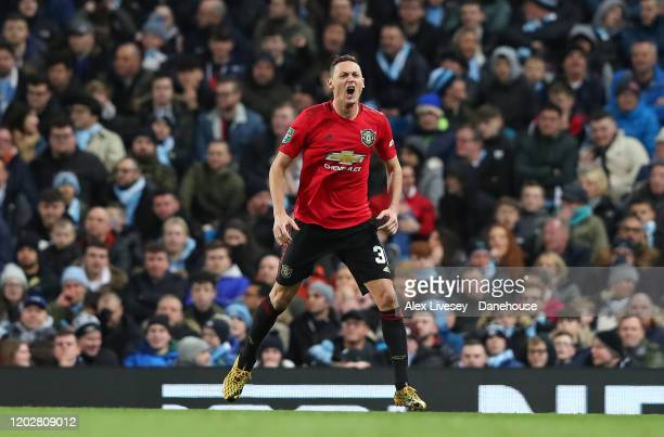 Nemanja Matic of Manchester United celebrates after scoring the opening goal during the Carabao Cup Semi Final match between Manchester City and...