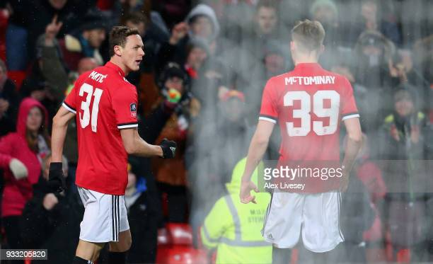 Nemanja Matic of Manchester United celebrates after scoring the second goal during the Emirates FA Cup Quarter Final between Manchester United and...