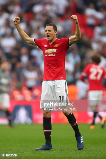 Nemanja Matic of Manchester United celebrates at full time during The Emirates FA Cup Semi Final match between Manchester United and Tottenham...