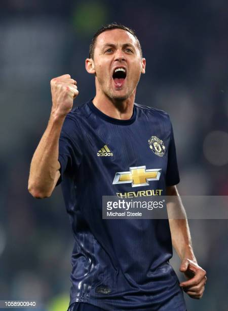 Nemanja Matic of Manchester United celebrates at the full time whistle during the UEFA Champions League Group H match between Juventus and Manchester...