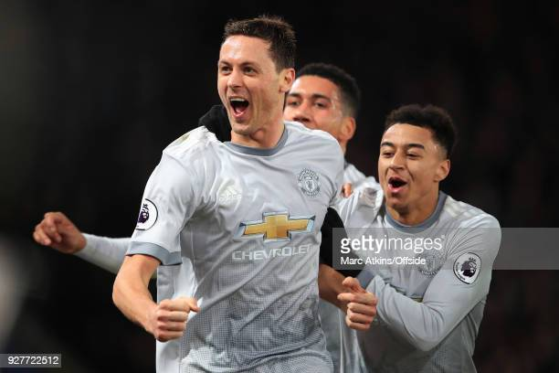 Nemanja Matic of Manchester United celebrates his late winning goal with Jesse Lingard during the Premier League match between Crystal Palace and...