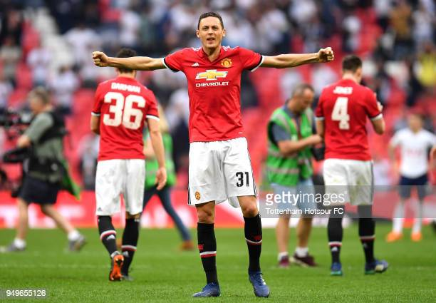 Nemanja Matic of Manchester United celebrates his sides victory after The Emirates FA Cup Semi Final match between Manchester United and Tottenham...
