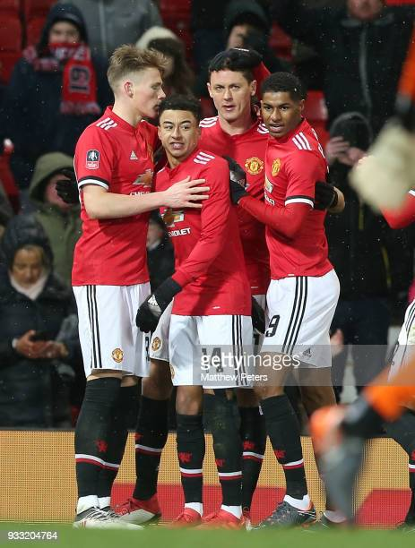 Nemanja Matic of Manchester United celebrates scoring their second goal during the Emirates FA Cup Quarter Final match between Manchester United and...