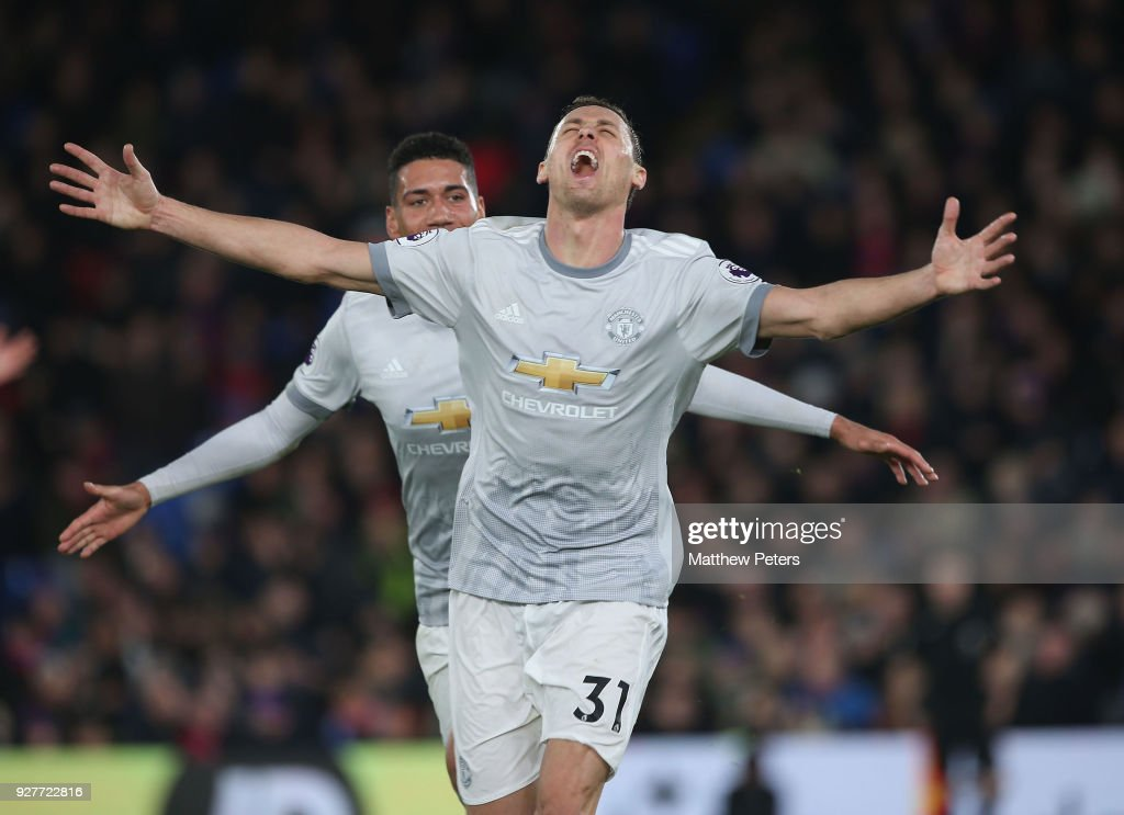 Nemanja Matic of Manchester United celebrates scoring their third goal during the Premier League match between Crystal Palace and Manchester United at Selhurst Park on March 5, 2018 in London, England.