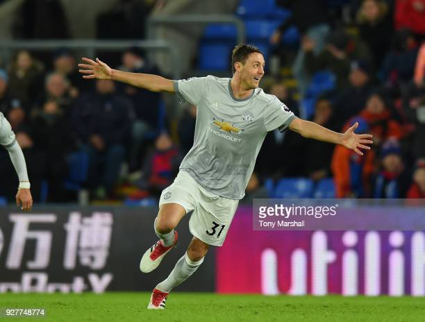 Nemanja Matic of Manchester United celebrates scoring their third goal during the Premier League match between Crystal Palace and Manchester United...
