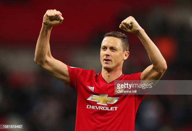Nemanja Matic of Manchester United celebrates victory after the Premier League match between Tottenham Hotspur and Manchester United at Wembley...