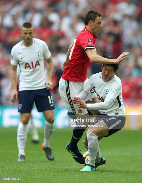 Nemanja Matic of Manchester United clashes with HeungMin Son of Tottenham Hotspur during The Emirates FA Cup Semi Final match between Manchester...