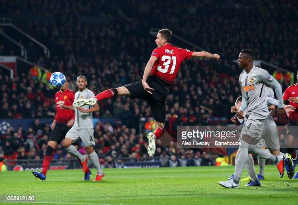 Nemanja Matic of Manchester United controls the ball during the Group H match of the UEFA Champions League between Manchester United and BSC Young...