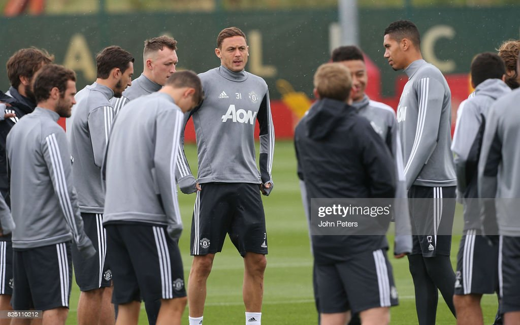 Nemanja Matic of Manchester United during a first team training session at Aon Training Complex on August 1, 2017 in Manchester, England.
