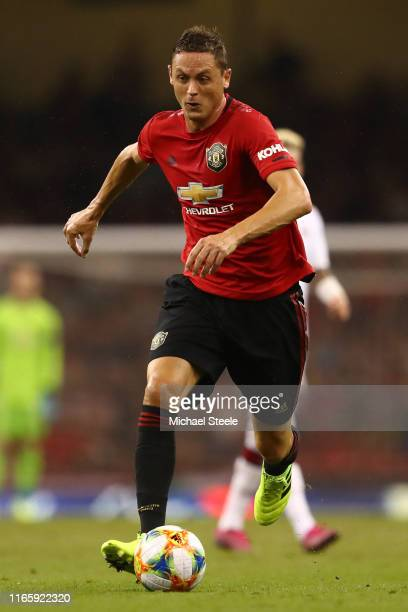 Nemanja Matic of Manchester United during the 2019 International Champions Cup match between Manchester United and AC Milan at Principality Stadium...