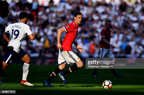 Nemanja Matic of Manchester United during The Emirates FA Cup Semi Final between Manchester United and Tottenham Hotspur at Wembley Stadium on April...