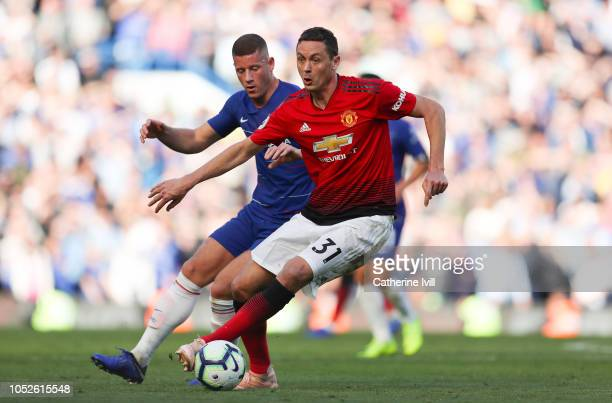 Nemanja Matic of Manchester United holds off Ross Barkley of Chelsea during the Premier League match between Chelsea FC and Manchester United at...