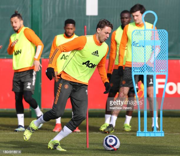 Nemanja Matic of Manchester United in action during a first team training session at Aon Training Complex on March 02, 2021 in Manchester, England.