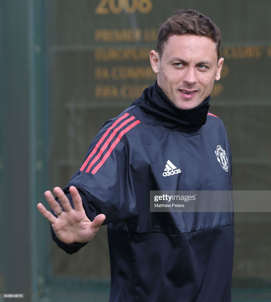 Nemanja Matic of Manchester United in action during a first team training session at Aon Training Complex on September 11, 2017 in Manchester, England.