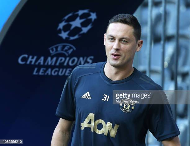 Nemanja Matic of Manchester United in action during a training session at Stade de Suisse on September 18 2018 in Bern Switzerland