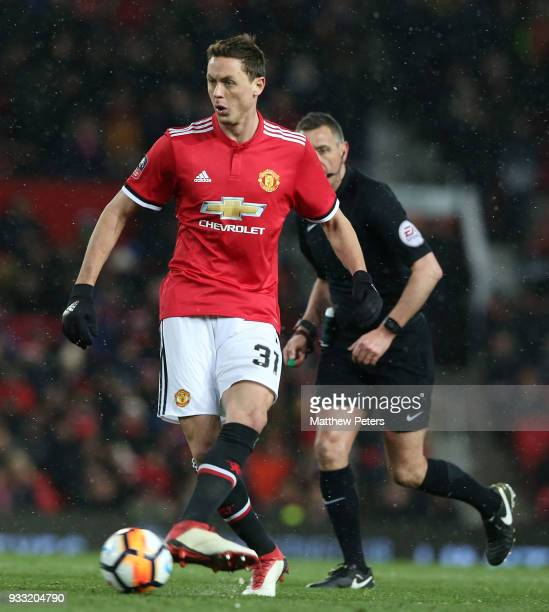 Nemanja Matic of Manchester United in action during the Emirates FA Cup Quarter Final match between Manchester United and Brighton Hove Albion at Old...