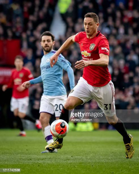 Nemanja Matic of Manchester United in action during the Premier League match between Manchester United and Manchester City at Old Trafford on March...